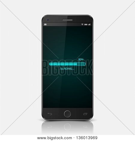 Modern mobile smartphone  with loading screen, vector