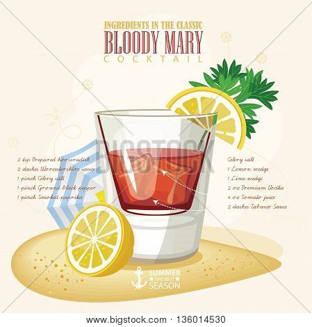 Vector illustration of popular alcoholic cocktail. Bloody Mary club alcohol shot.