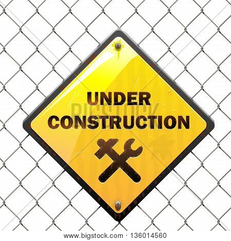 Vector Under Construction Sign with Mesh isolated on white background