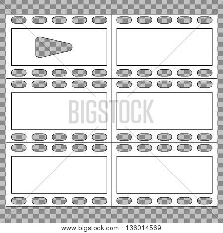 film strip with play - white vector icon