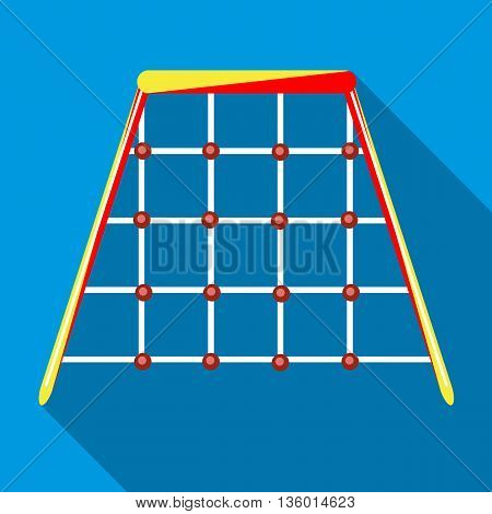 Climbing net in playground for children climb up icon in flat style on a sky blue background