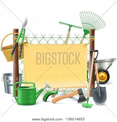 Vector Mesh Frame with Garden Tools isolated on white background