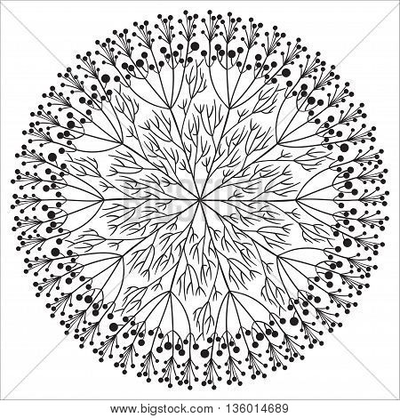 Unique Hand drawing floral mandala, zentangle element. Vector illustration. White and black