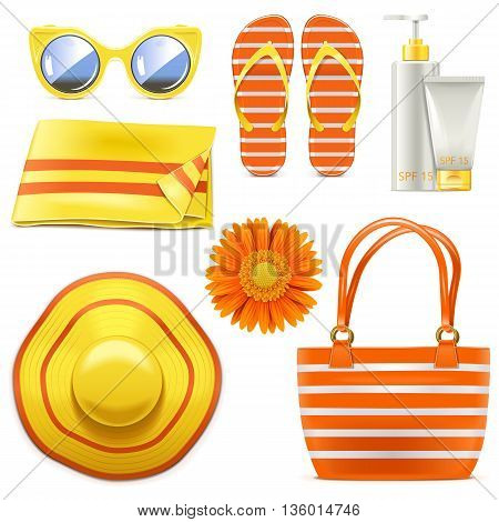 Vector Beach Accessories isolated on white background