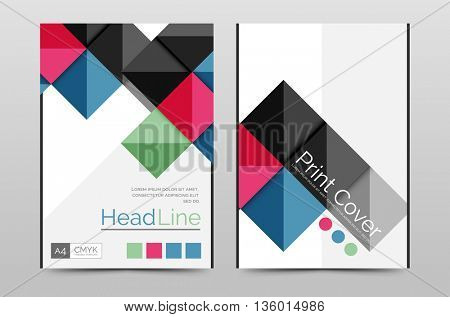 Geometric brochure front page, business annual report cover vector template, A4 size poster
