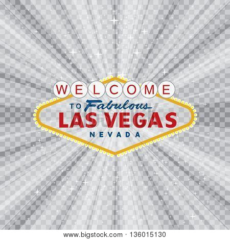 vector transparent sign of Las Vegas with stars and burst, layered and fully editable