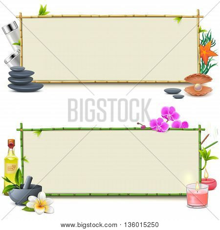 Vector Bamboo SPA Boards isolated on white background