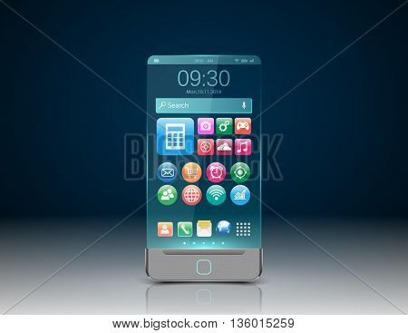 Realistic  Smartphone with colorful application icons. vector