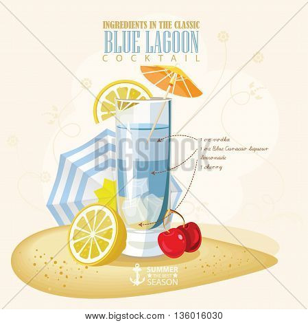 Vector illustration of popular alcoholic cocktail. Blue lagoon club alcohol shot.
