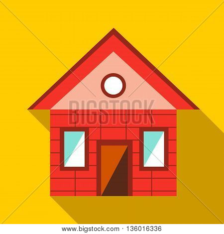 Toy house icon in flat style on a yellow background