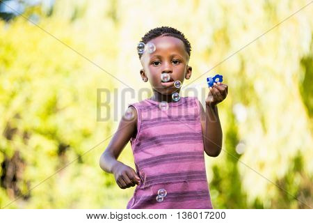 Boy playing with bubble in a park
