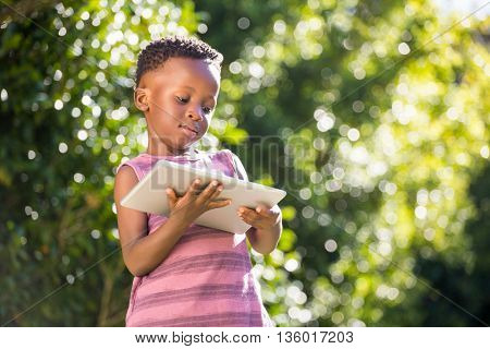 A child is using a pad in a park