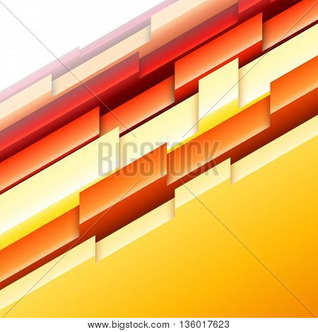 Abstract geometric background with yellow, orange, and red three-dimensional shapes