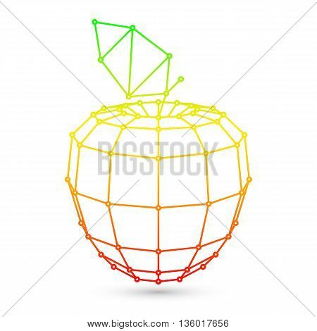 Polygonal low poly apple fruit on white background