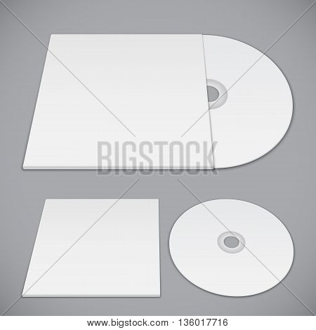 Compact disk and paper envelope mockup template for advertising and branding