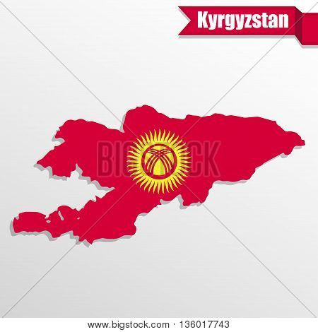 Kyrgyzstan map with flag inside and ribbon