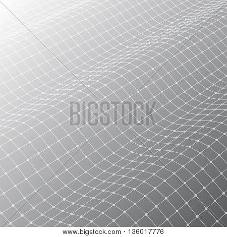 Three-dimensional polygonal mesh grid on grey background