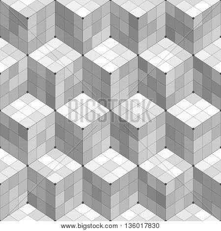 Black and white geometric cubes seamless pattern