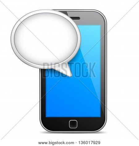 Mobile phone displaying message bubble over blue screen