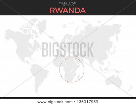 Republic of Rwanda location modern detailed vector map. All world countries without names. Vector template of beautiful flat grayscale map design with selected country and border location