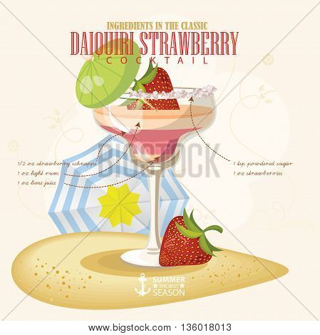 Vector illustration of popular alcoholic cocktail. Daiquiri strawberry club alcohol shot.