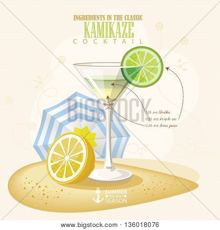 Vector illustration of popular alcoholic cocktail. Kamikaze club alcohol shot.