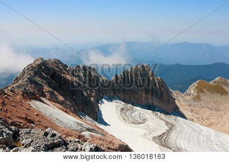 view from mount Fisht the Caucasus sky mountain glacier landscape.