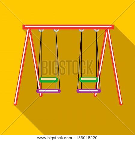 Two swings icon in flat style on a yellow background