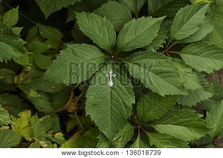 orthodox silver cross on green leaf close up