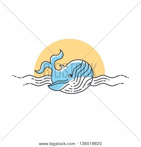Whale swimming in the water. Whale line icon. Vector illustration.