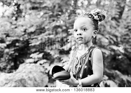 Close Up Black And White Portrait Of African Baby Girl
