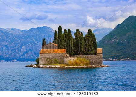 Island in Boka Kotor bay - Montenegro - nature and architecture background