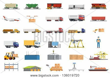 Set of icons transport logistics concept. Warehouse and production, stackers and trolley, scanner barcode, guaranteed and loading, trucks and trains, crane and logistic illustration