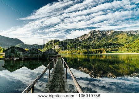 lake cabin boathouse fishing kochelsee bavaria mountains