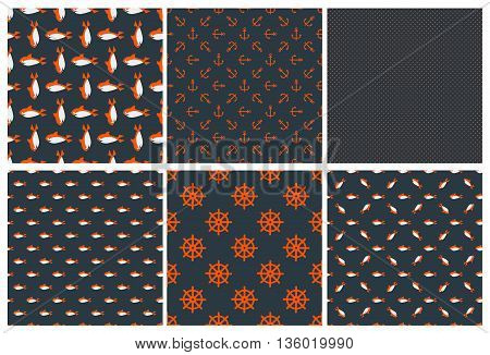 Cute dark collection vector monochrome seamless pattern. For background wrappers wallpaper paper and printing on fabrics. Vector on dark blue back.