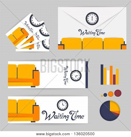 waiting room orange background interior colorful design with furniture infographic envelope business card bookmark. Vector flat style illustration. Material vector icon
