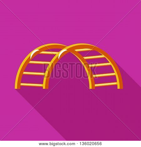 Climbing stairs on a playground icon in flat style on a fuchsia background