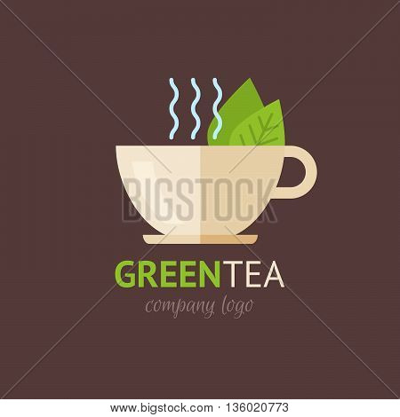 Flat green tea cup organic logotype with text and tagline minimalistic design isolated