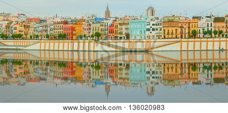 Seville panoramic cityscape with historical buildings, city skyline Sevilla Spain.