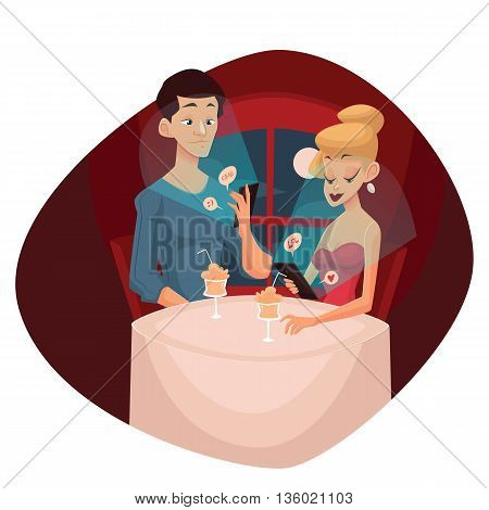 date loving couple and mobile phone, cartoon comic illustration, concept meeting couples in love and modern technology, evening the men and women who keep the phones do not notice each other
