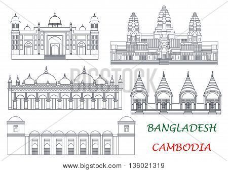 Ancient temples and mosques of Cambodia and Bangladesh thin line icons for exotic tourist attractions and travel concept design with Angkor Wat and Dhakeshwari National Temples, Sixty Dome Mosque, Lalbagh Fort and Star Mosque