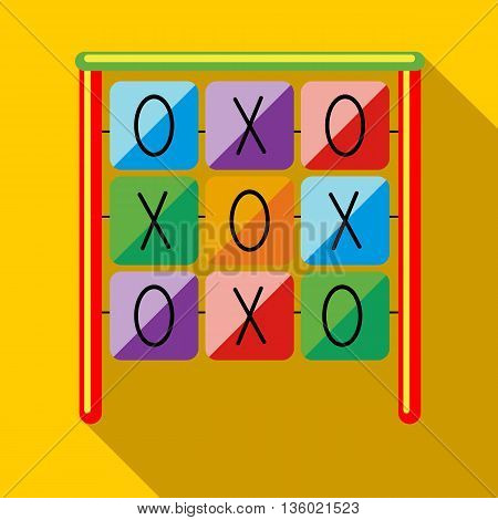 Tic tac toe game on a playground icon in flat style on a yellow background