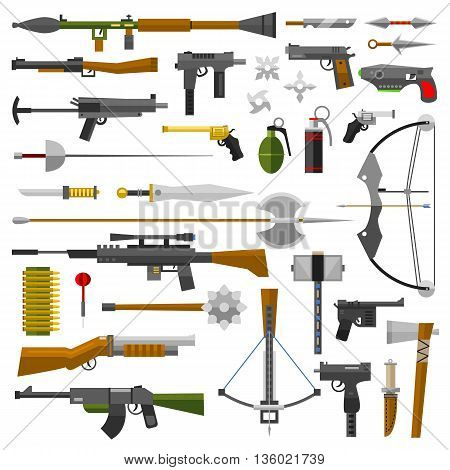 Weapons vector guns collection icons. Pistols submachine guns and assault rifles. Sniper rifles knifes and grenade vector icons. Weapon gun illustration isolated on white background