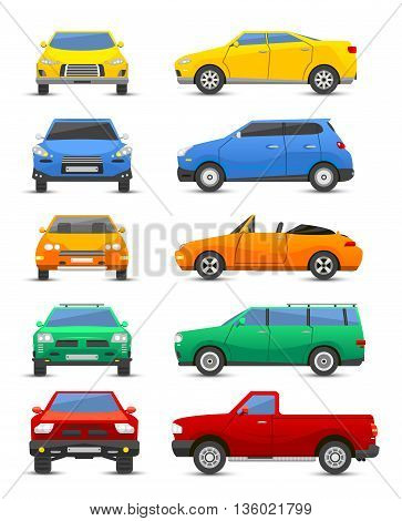 Different car vehicle type design sign technology style vector. Generic car different design flat vector illustration isolated on white. Pickup sedan bus and other car vehicle