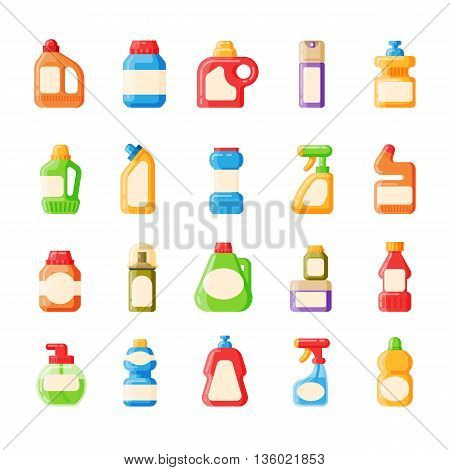 Set of house hold bottle template and container bottle pack design bottle template. Bottle template plastic package. Blank package container dummy collection bottle template flat vector illustration.