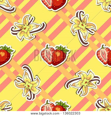 Seamless pattern made from hand drawn strawberries and vanilla on striped background. Vector illustration.