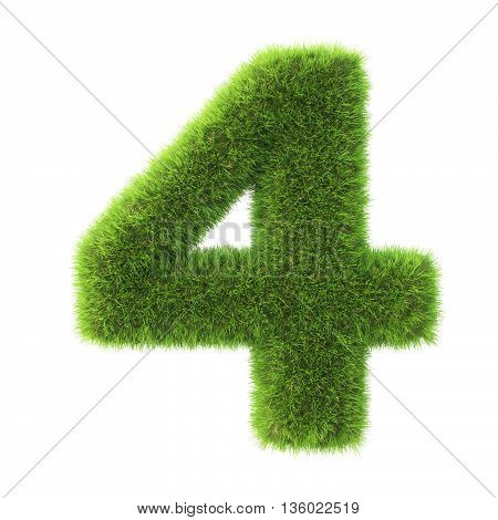 number made from green grass. isolated on white. 3D illustration.