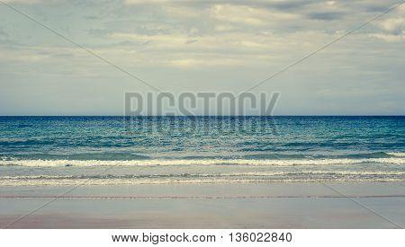 Tropical Sandy Beach With Clear Sky.