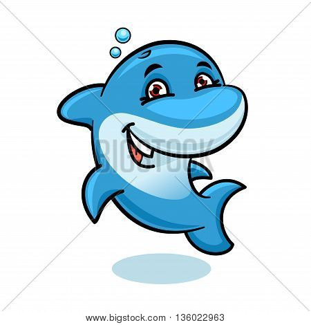 Cheerful cartoon bright blue atlantic bottlenose dolphin character showing tricks and playing in the water. Marine animals show or summer vacation symbol, sea life theme design