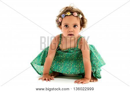 Little mulatto girl with flowers in hair. Interracial child isolated on white.